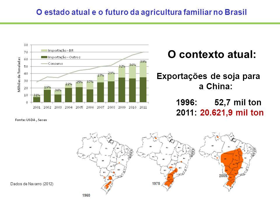 Exportações de soja para a China: 1996: 52,7 mil ton