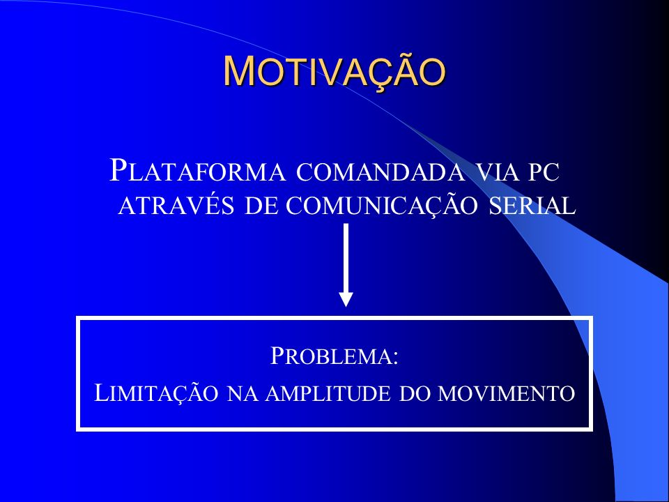MOTIVAÇÃO PLATAFORMA COMANDADA VIA PC ATRAVÉS DE COMUNICAÇÃO SERIAL