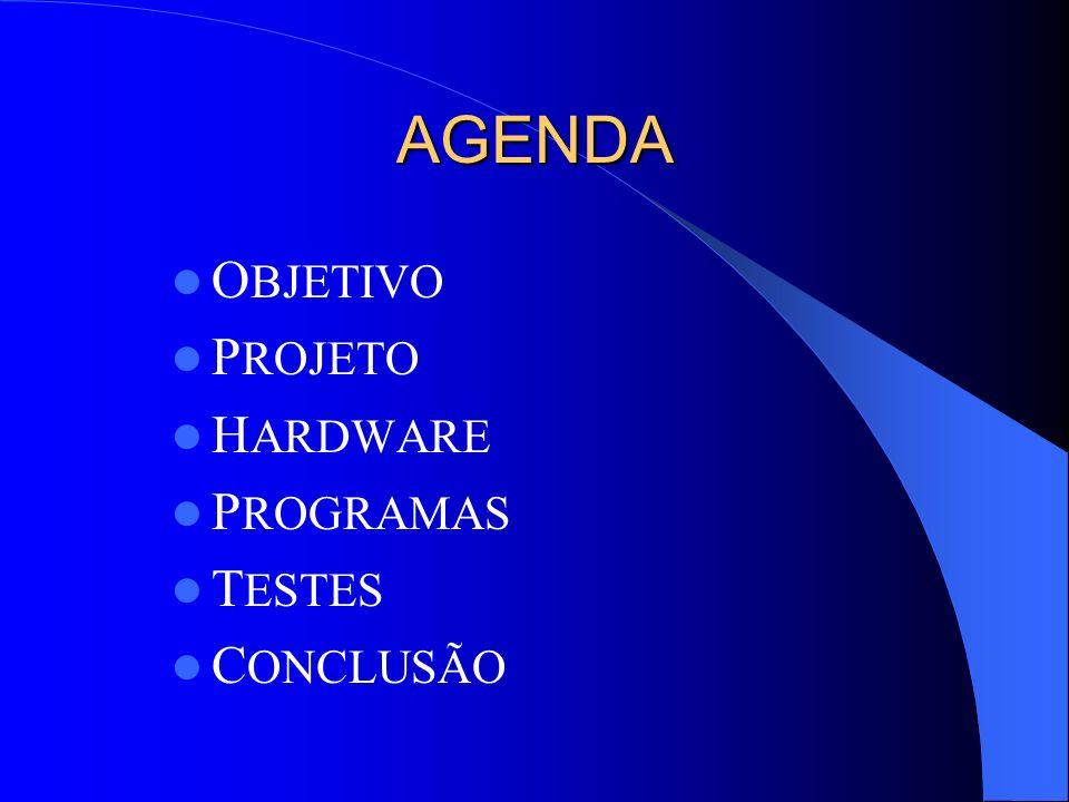 AGENDA OBJETIVO PROJETO HARDWARE PROGRAMAS TESTES CONCLUSÃO