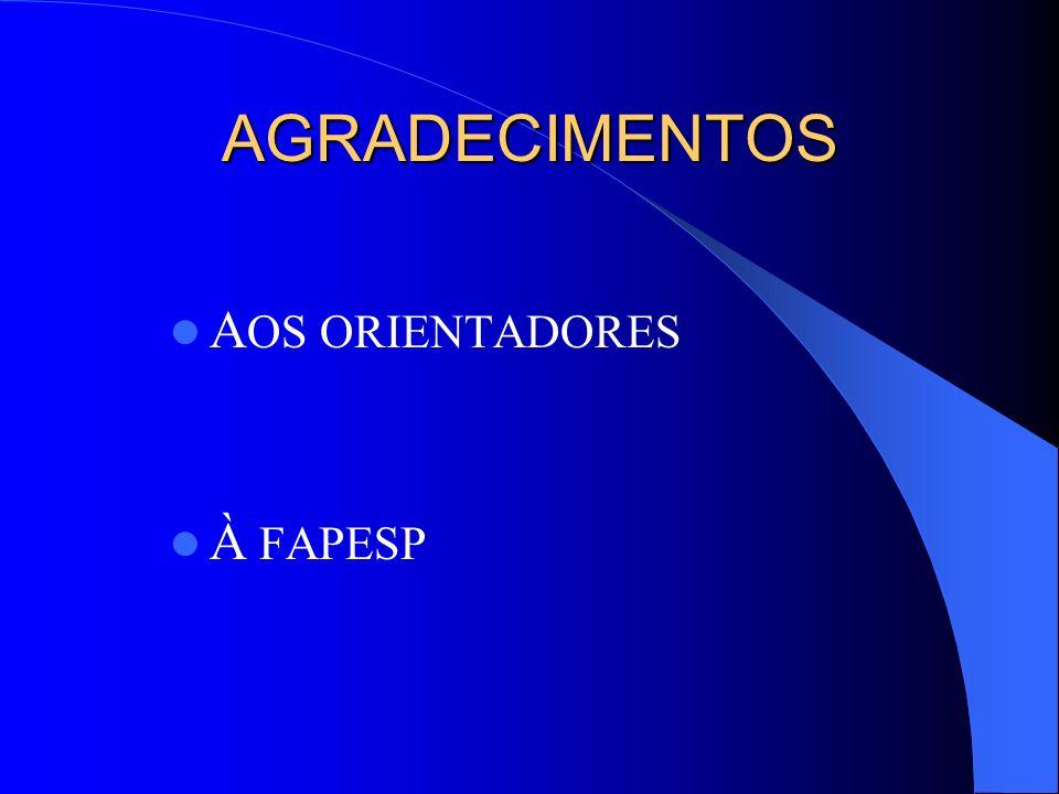 AGRADECIMENTOS AOS ORIENTADORES À FAPESP