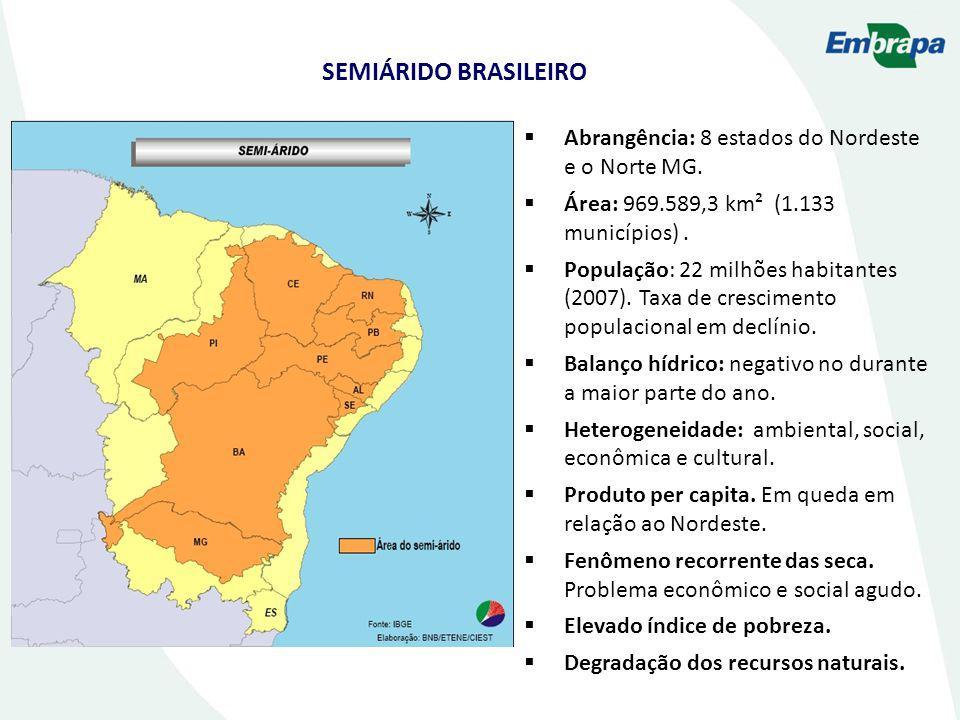 SEMIÁRIDO BRASILEIRO Abrangência: 8 estados do Nordeste e o Norte MG.