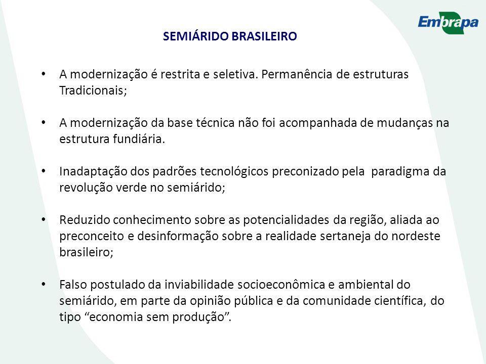 SEMIÁRIDO BRASILEIRO A modernização é restrita e seletiva. Permanência de estruturas Tradicionais;
