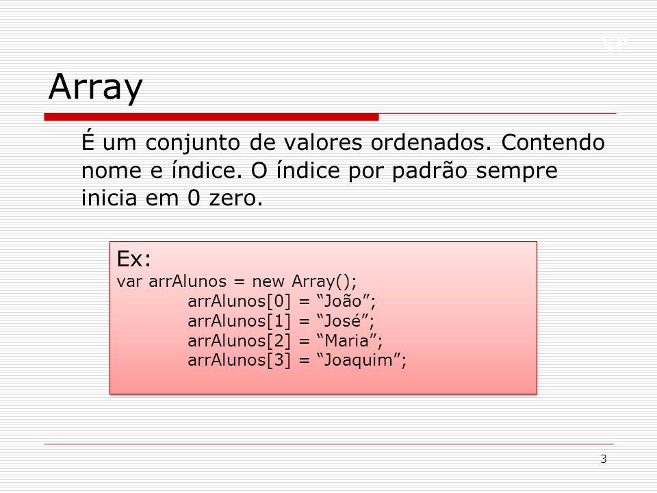 Array É um conjunto de valores ordenados. Contendo nome e índice. O índice por padrão sempre inicia em 0 zero.