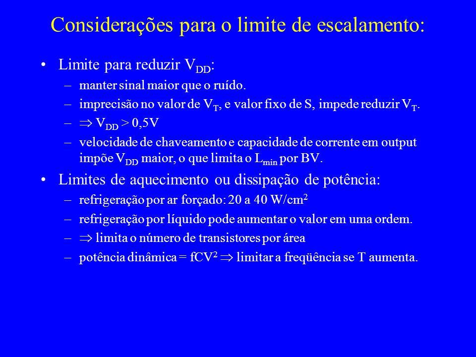 Considerações para o limite de escalamento:
