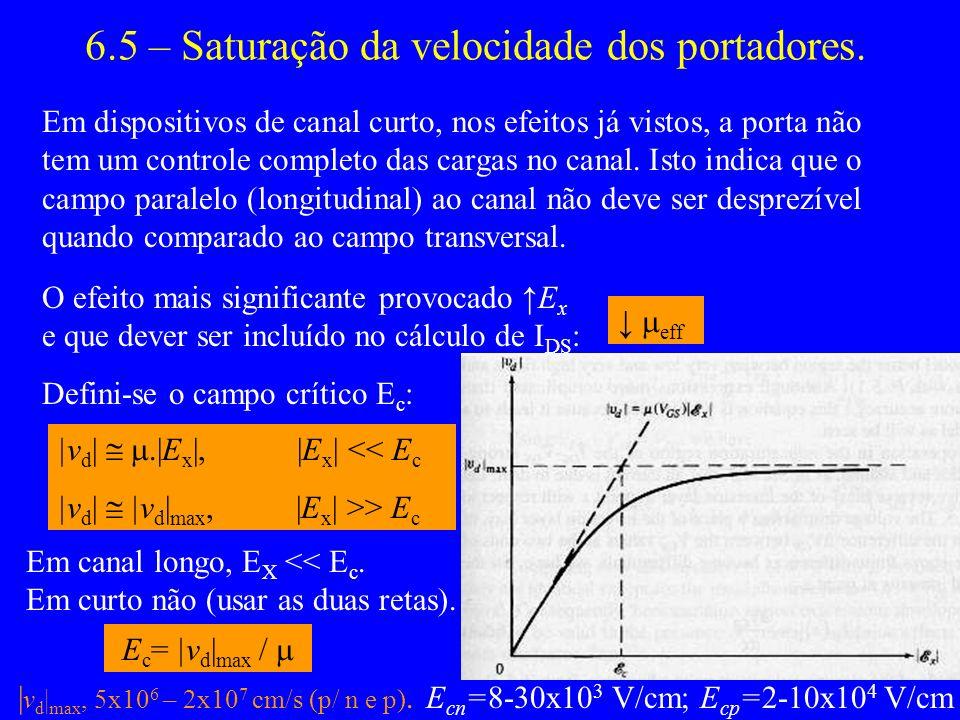6.5 – Saturação da velocidade dos portadores.