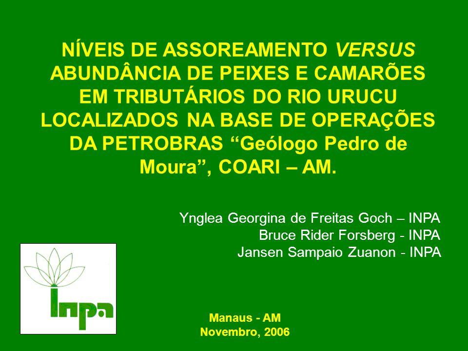 NÍVEIS DE ASSOREAMENTO VERSUS ABUNDÂNCIA DE PEIXES E CAMARÕES EM TRIBUTÁRIOS DO RIO URUCU LOCALIZADOS NA BASE DE OPERAÇÕES DA PETROBRAS Geólogo Pedro de Moura , COARI – AM.