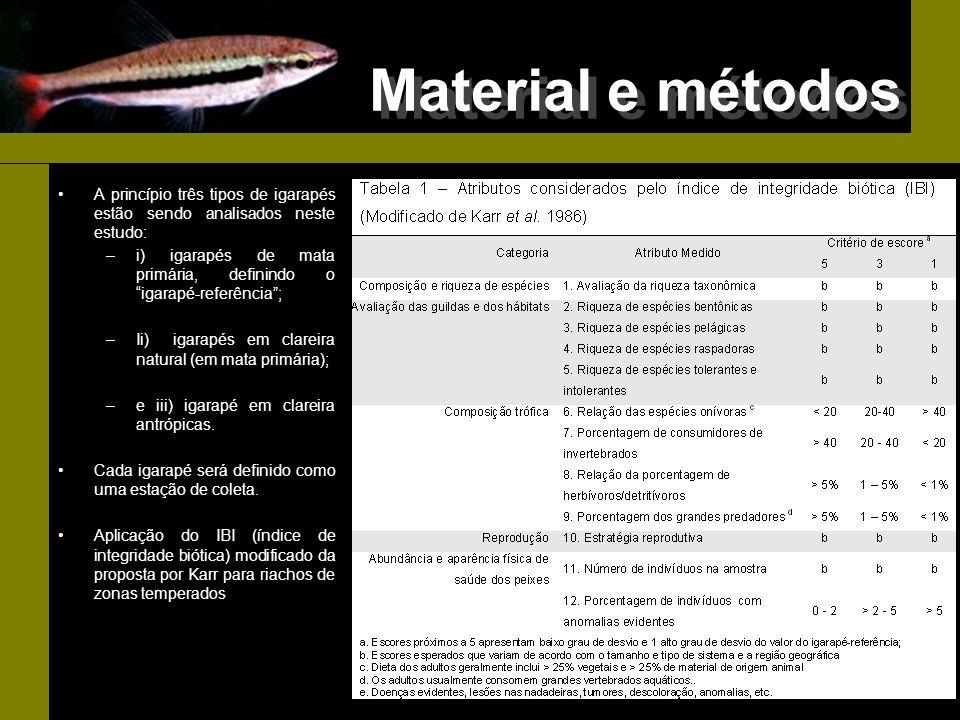 Material e métodos A princípio três tipos de igarapés estão sendo analisados neste estudo: