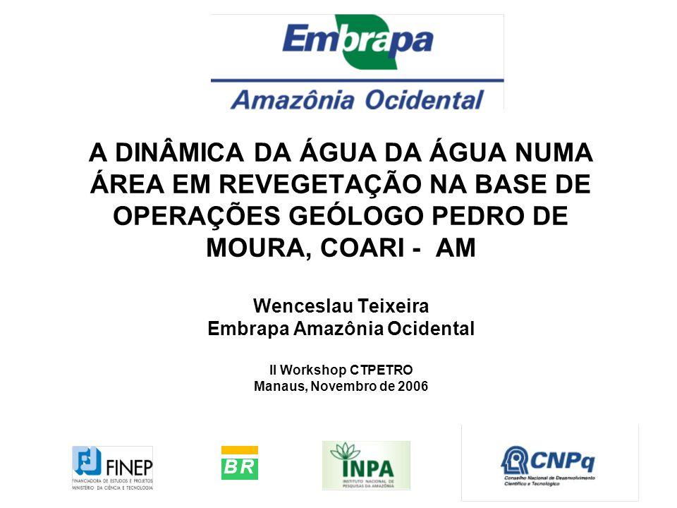 A DINÂMICA DA ÁGUA DA ÁGUA NUMA ÁREA EM REVEGETAÇÃO NA BASE DE OPERAÇÕES GEÓLOGO PEDRO DE MOURA, COARI - AM Wenceslau Teixeira Embrapa Amazônia Ocidental II Workshop CTPETRO Manaus, Novembro de 2006