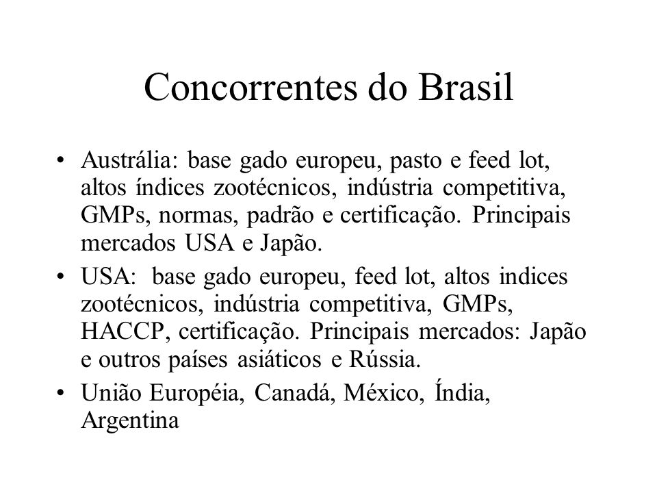 Concorrentes do Brasil