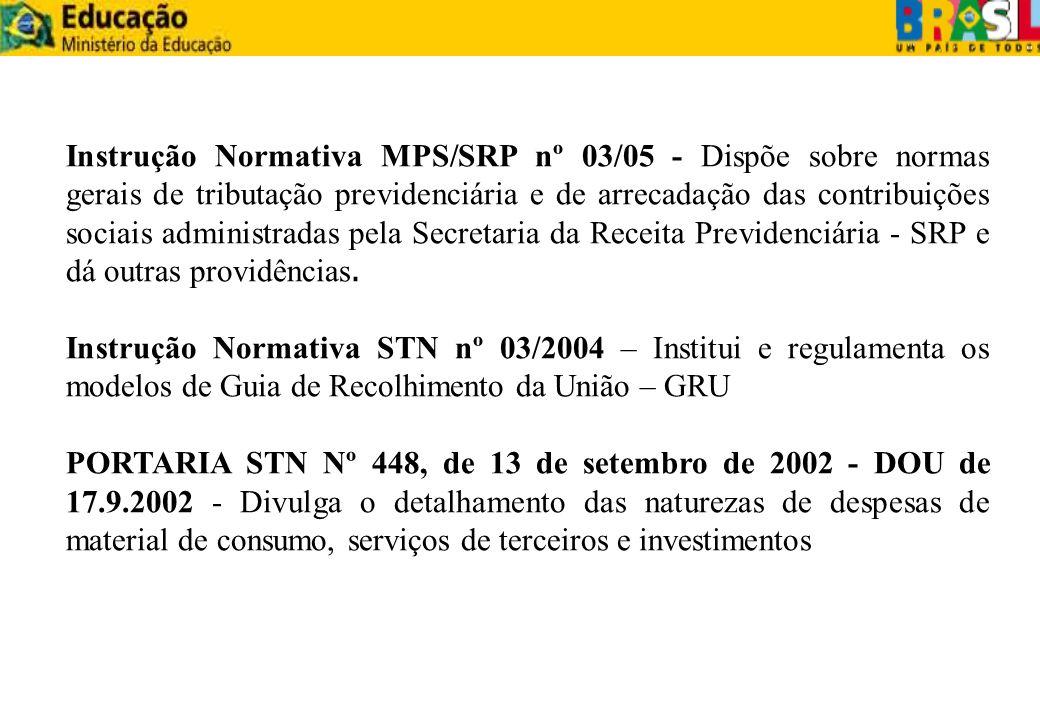 Instrução Normativa MPS/SRP nº 03/05 - Dispõe sobre normas gerais de tributação previdenciária e de arrecadação das contribuições sociais administradas pela Secretaria da Receita Previdenciária - SRP e dá outras providências.