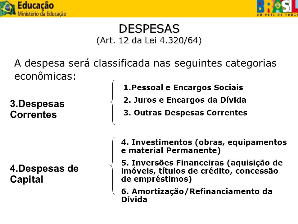 A despesa será classificada nas seguintes categorias econômicas: