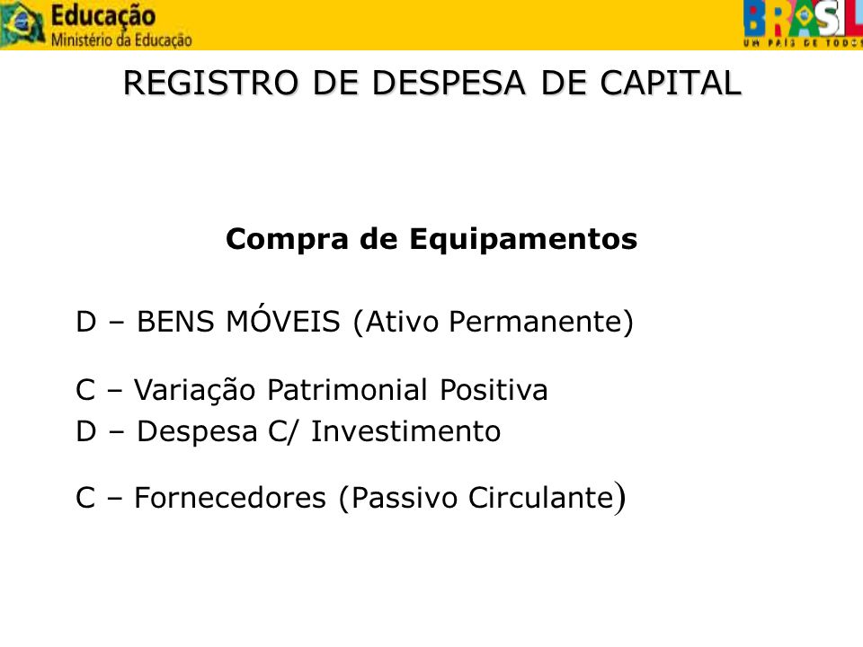 REGISTRO DE DESPESA DE CAPITAL