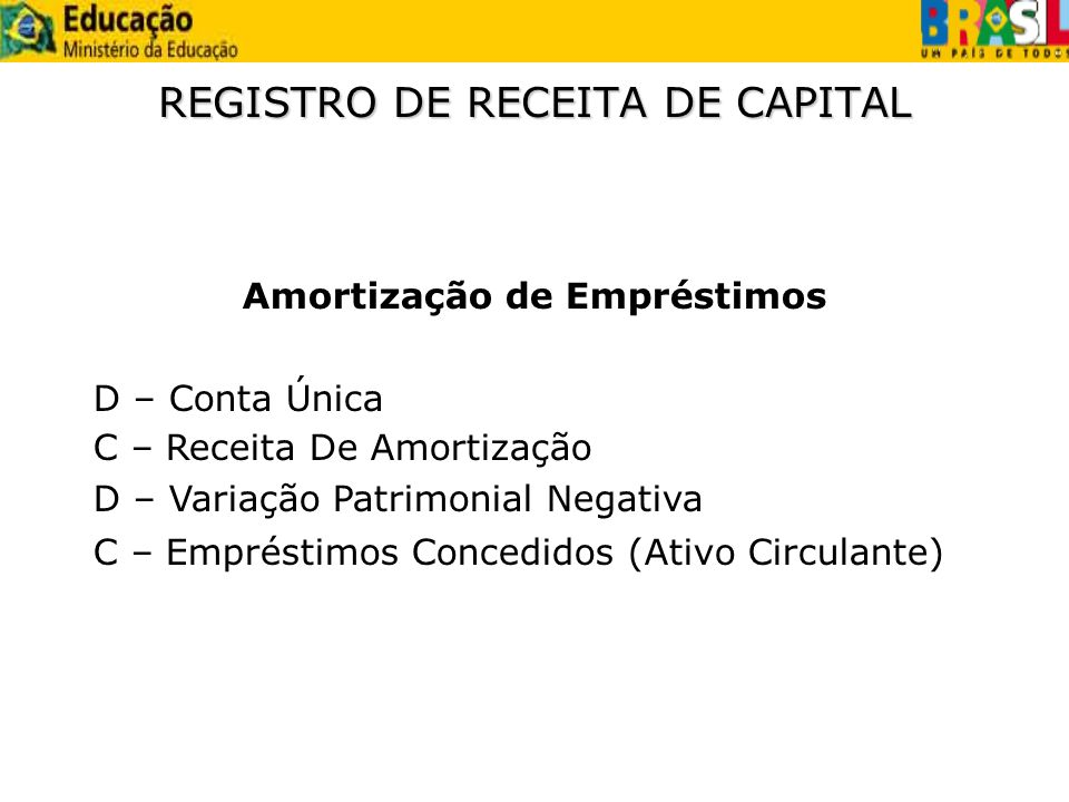 REGISTRO DE RECEITA DE CAPITAL