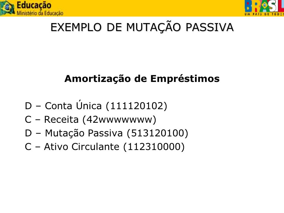 EXEMPLO DE MUTAÇÃO PASSIVA