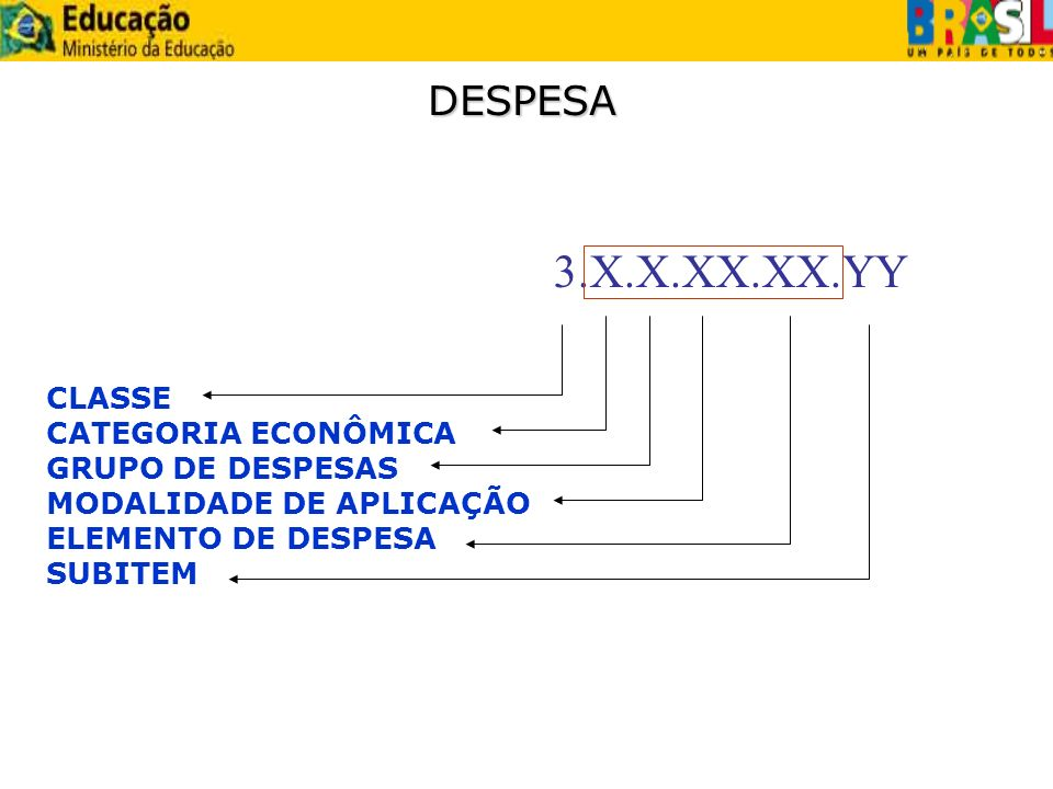 3.X.X.XX.XX.YY DESPESA CLASSE CATEGORIA ECONÔMICA GRUPO DE DESPESAS