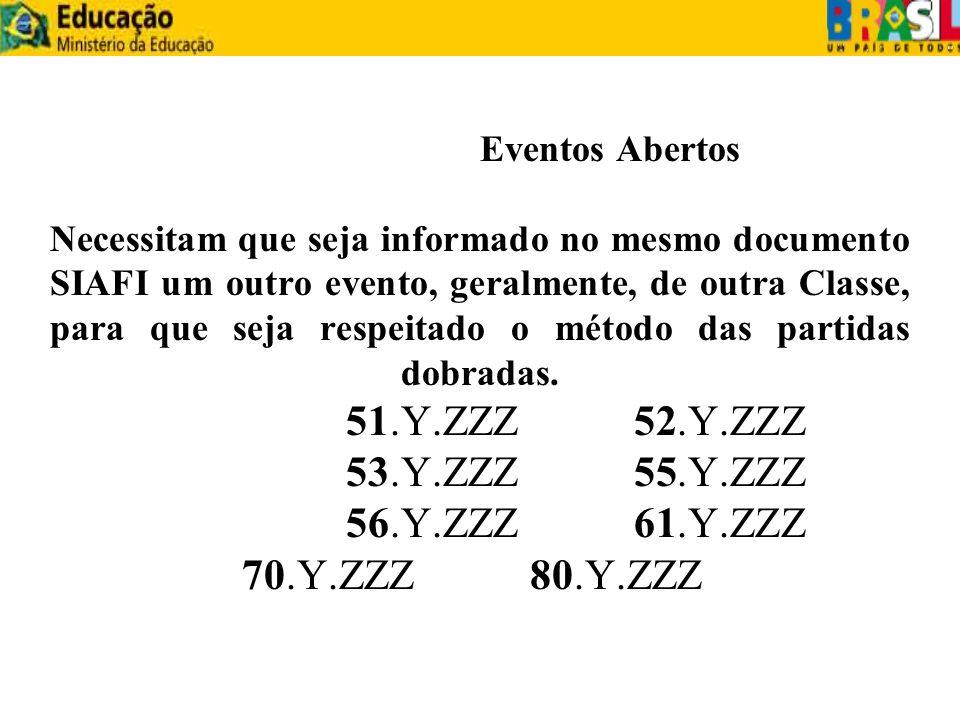 Eventos Abertos Necessitam que seja informado no mesmo documento SIAFI um outro evento, geralmente, de outra Classe, para que seja respeitado o método das partidas dobradas.