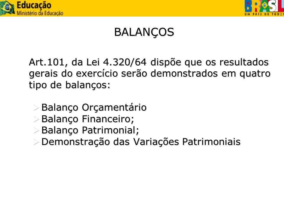 BALANÇOS Art.101, da Lei 4.320/64 dispõe que os resultados gerais do exercício serão demonstrados em quatro tipo de balanços: