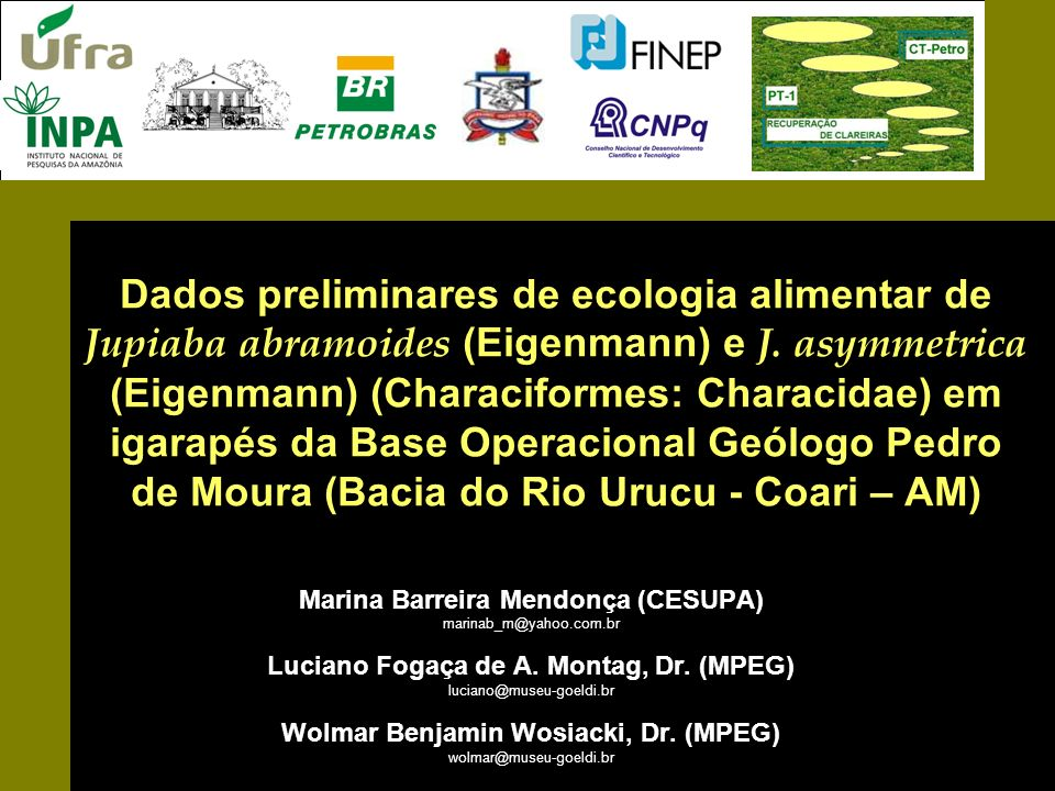 Dados preliminares de ecologia alimentar de Jupiaba abramoides (Eigenmann) e J. asymmetrica (Eigenmann) (Characiformes: Characidae) em igarapés da Base Operacional Geólogo Pedro de Moura (Bacia do Rio Urucu - Coari – AM)