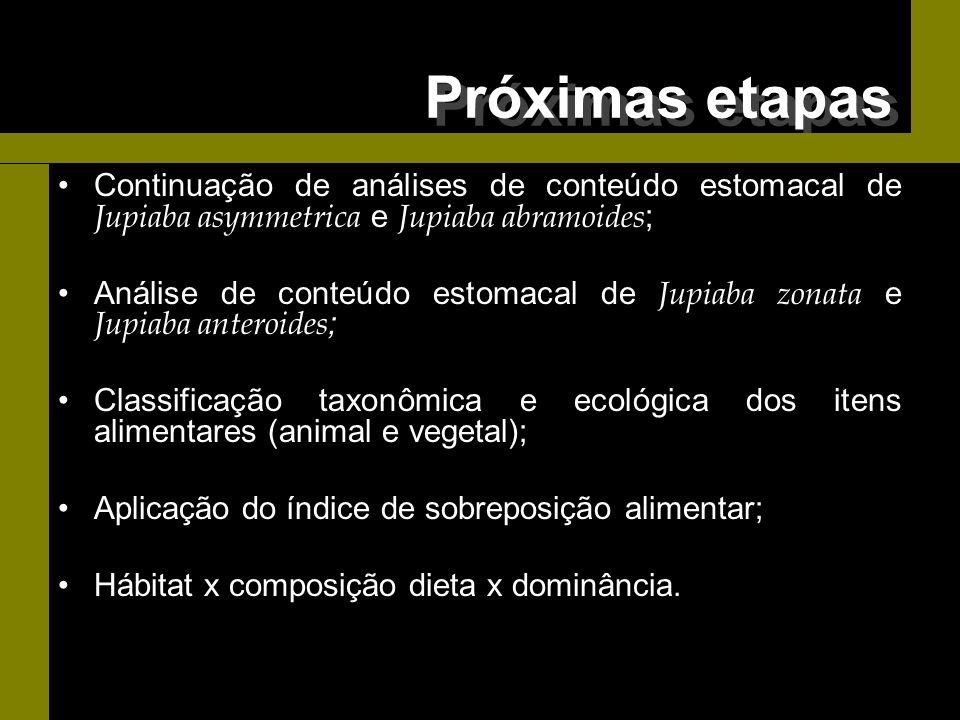 Próximas etapas Continuação de análises de conteúdo estomacal de Jupiaba asymmetrica e Jupiaba abramoides;