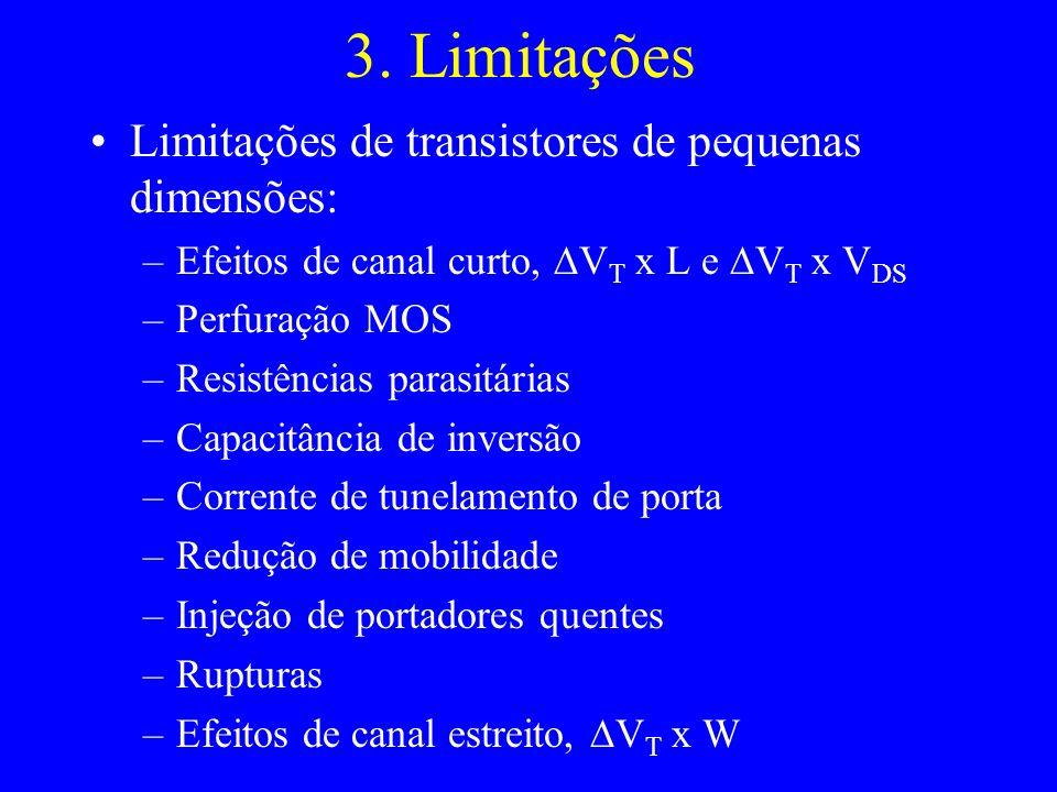 3. Limitações Limitações de transistores de pequenas dimensões: