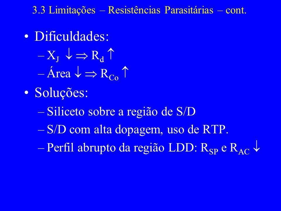 3.3 Limitações – Resistências Parasitárias – cont.