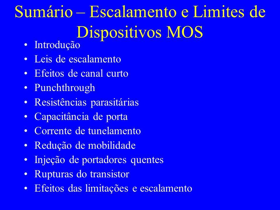 Sumário – Escalamento e Limites de Dispositivos MOS