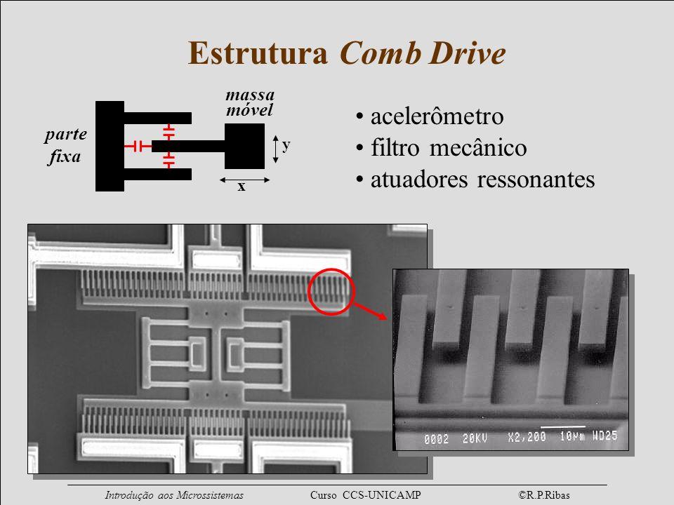 Estrutura Comb Drive acelerômetro filtro mecânico