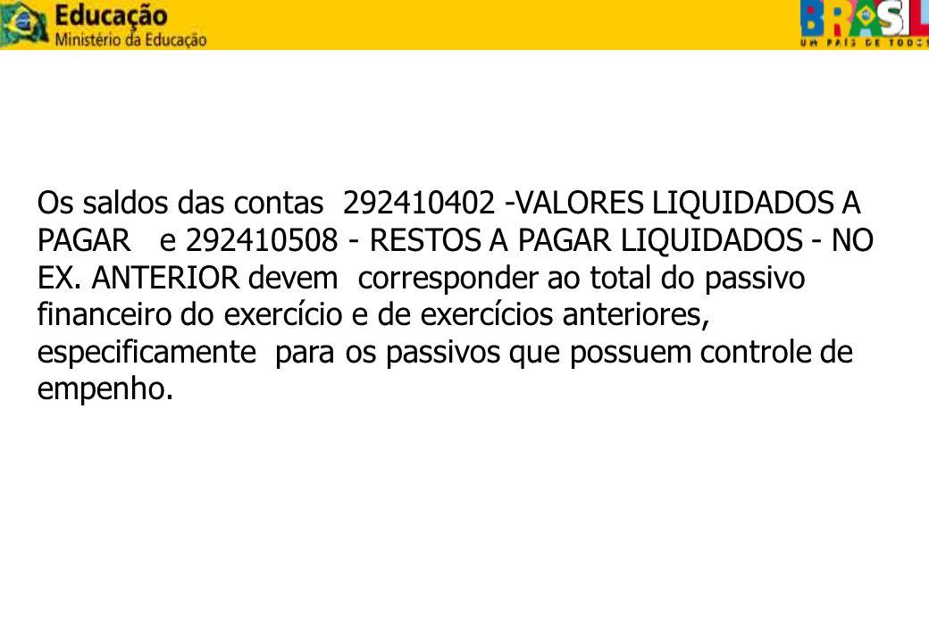 Os saldos das contas 292410402 -VALORES LIQUIDADOS A PAGAR e 292410508 - RESTOS A PAGAR LIQUIDADOS - NO EX.