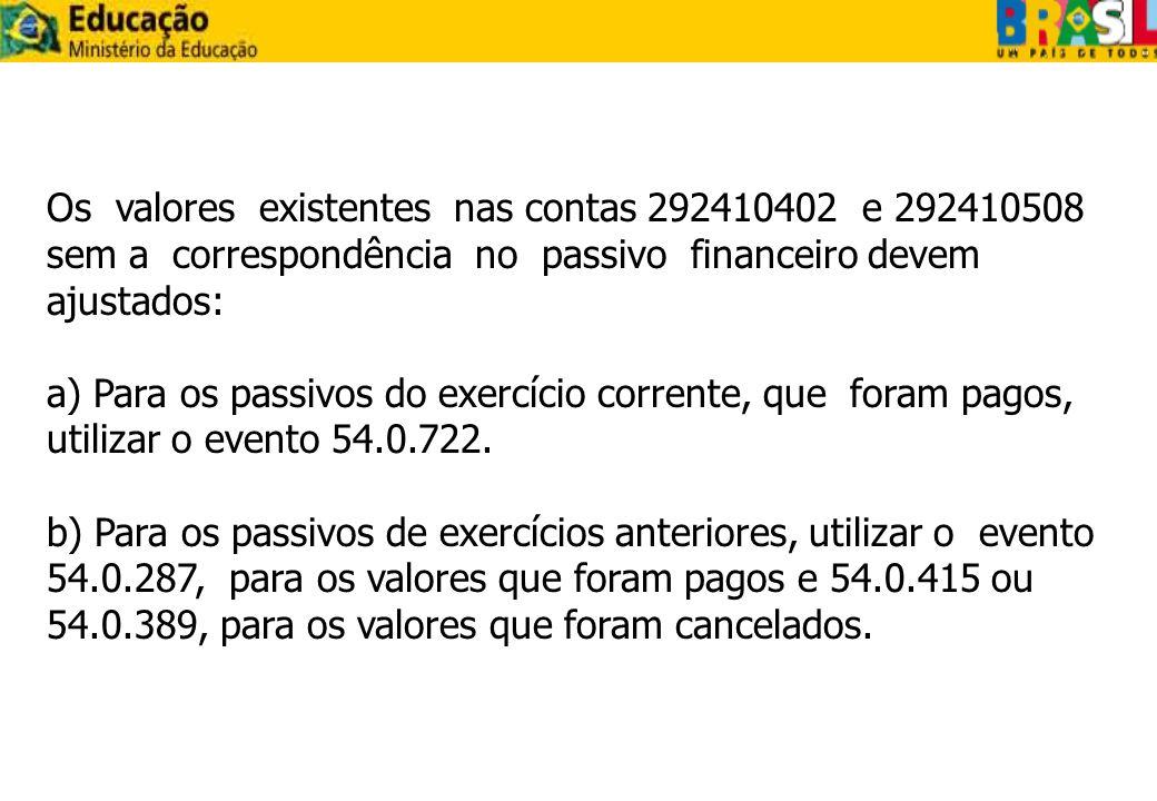 Os valores existentes nas contas 292410402 e 292410508 sem a correspondência no passivo financeiro devem ajustados: