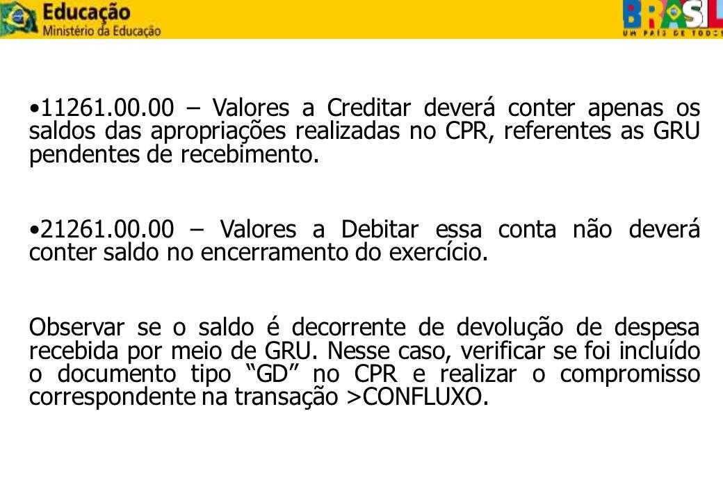 11261.00.00 – Valores a Creditar deverá conter apenas os saldos das apropriações realizadas no CPR, referentes as GRU pendentes de recebimento.