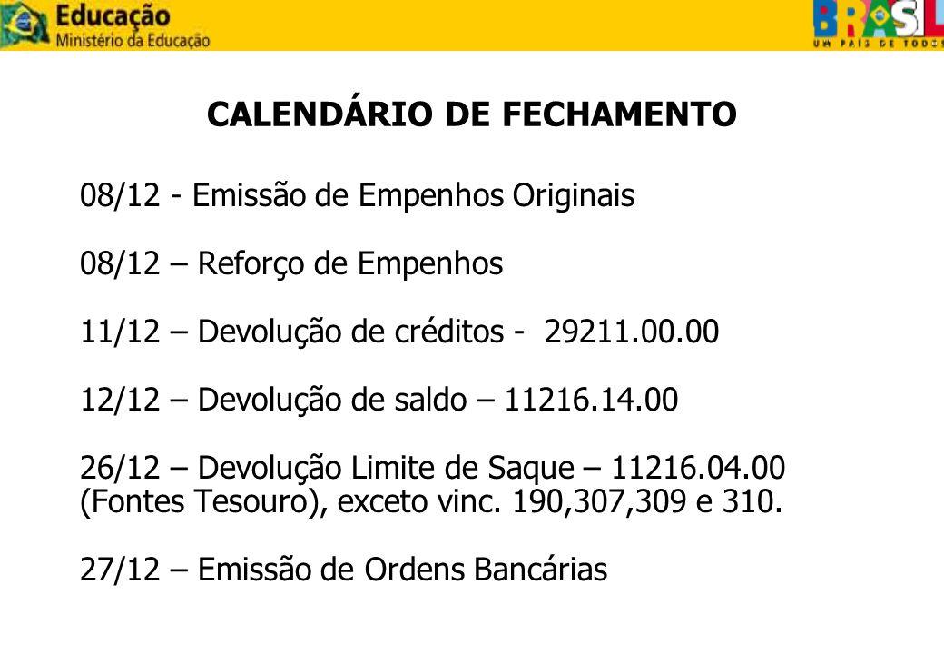 CALENDÁRIO DE FECHAMENTO