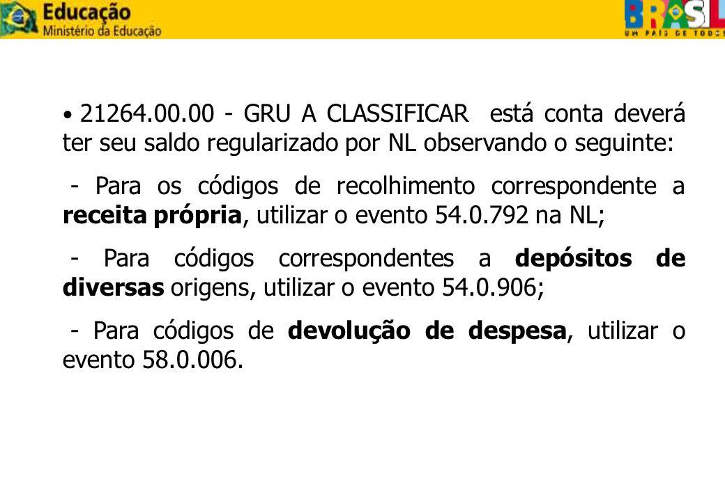 - Para códigos de devolução de despesa, utilizar o evento 58.0.006.