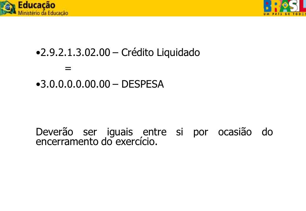 2.9.2.1.3.02.00 – Crédito Liquidado= 3.0.0.0.0.00.00 – DESPESA.