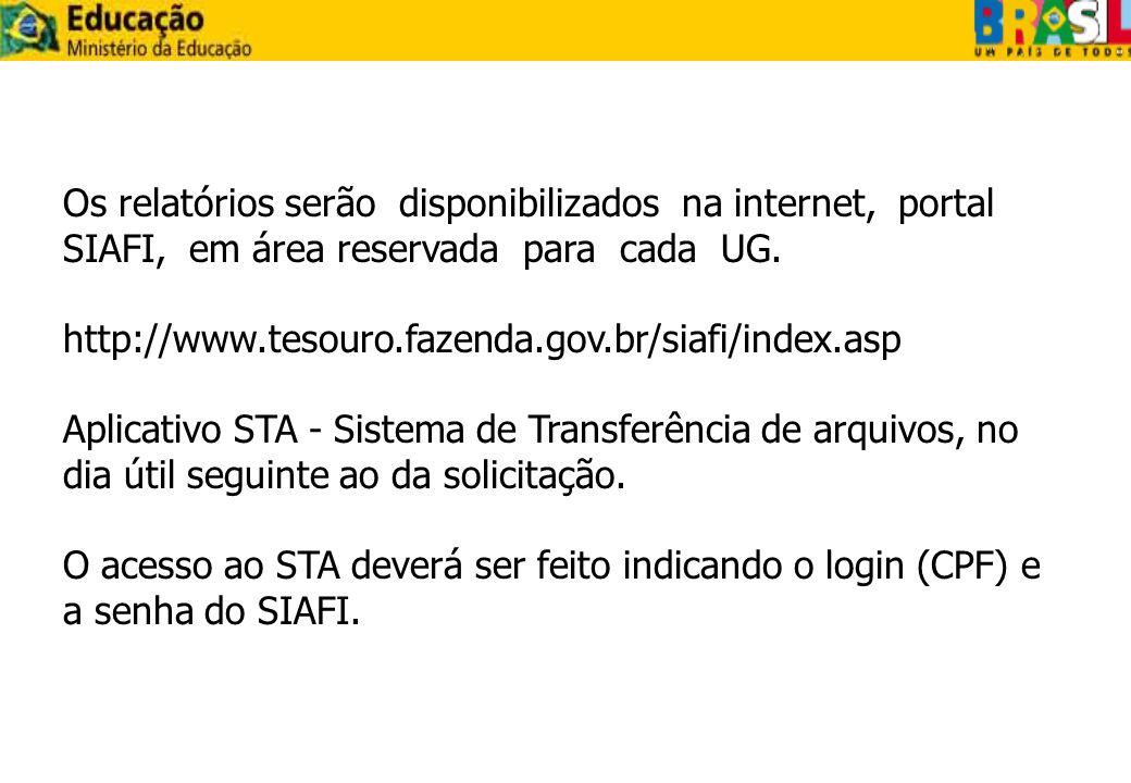 Os relatórios serão disponibilizados na internet, portal SIAFI, em área reservada para cada UG.