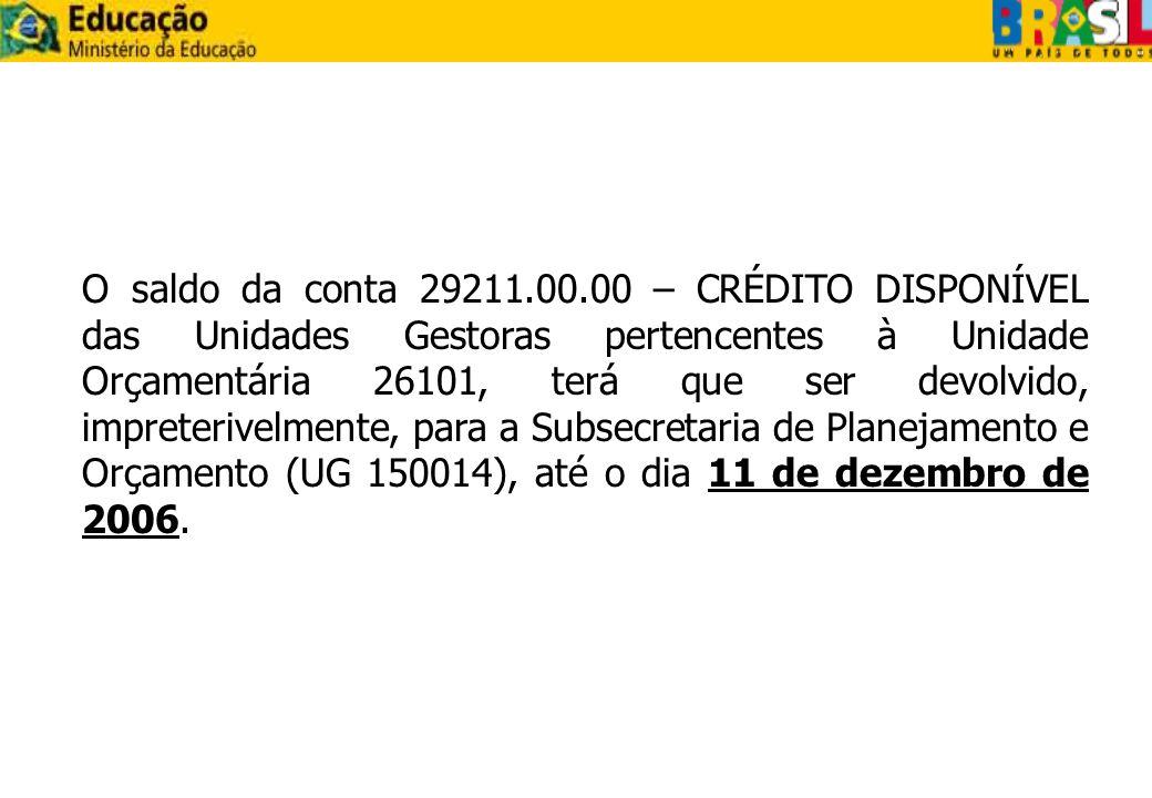 O saldo da conta 29211.00.00 – CRÉDITO DISPONÍVEL das Unidades Gestoras pertencentes à Unidade Orçamentária 26101, terá que ser devolvido, impreterivelmente, para a Subsecretaria de Planejamento e Orçamento (UG 150014), até o dia 11 de dezembro de 2006.