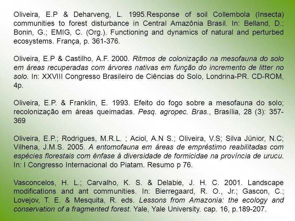Oliveira, E. P & Deharveng, L. 1995