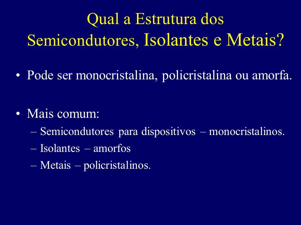 Qual a Estrutura dos Semicondutores, Isolantes e Metais