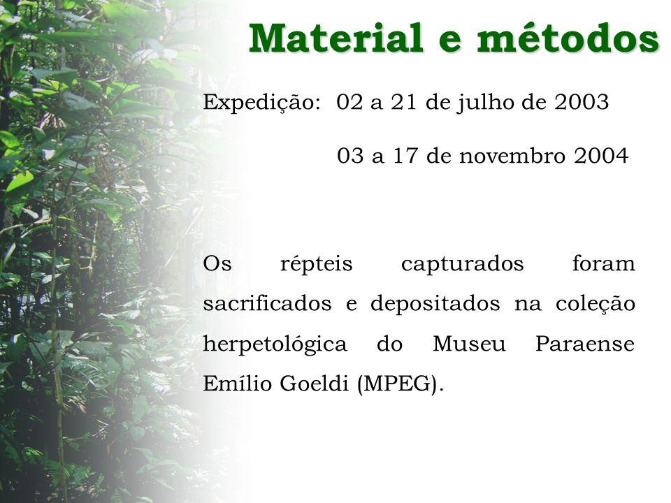 Material e métodos Expedição: 02 a 21 de julho de 2003