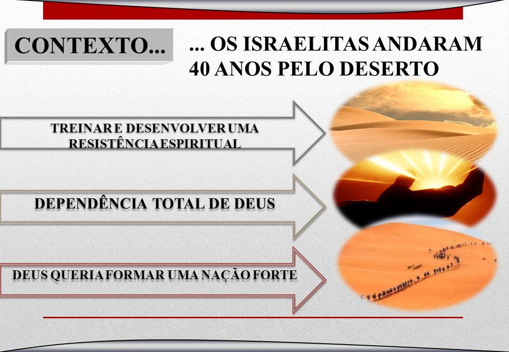 CONTEXTO... ... OS ISRAELITAS ANDARAM 40 ANOS PELO DESERTO