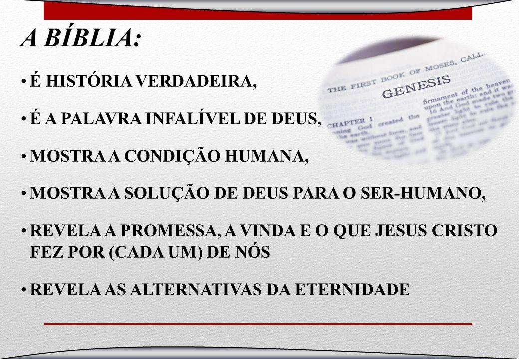 A BÍBLIA: É HISTÓRIA VERDADEIRA, É A PALAVRA INFALÍVEL DE DEUS,