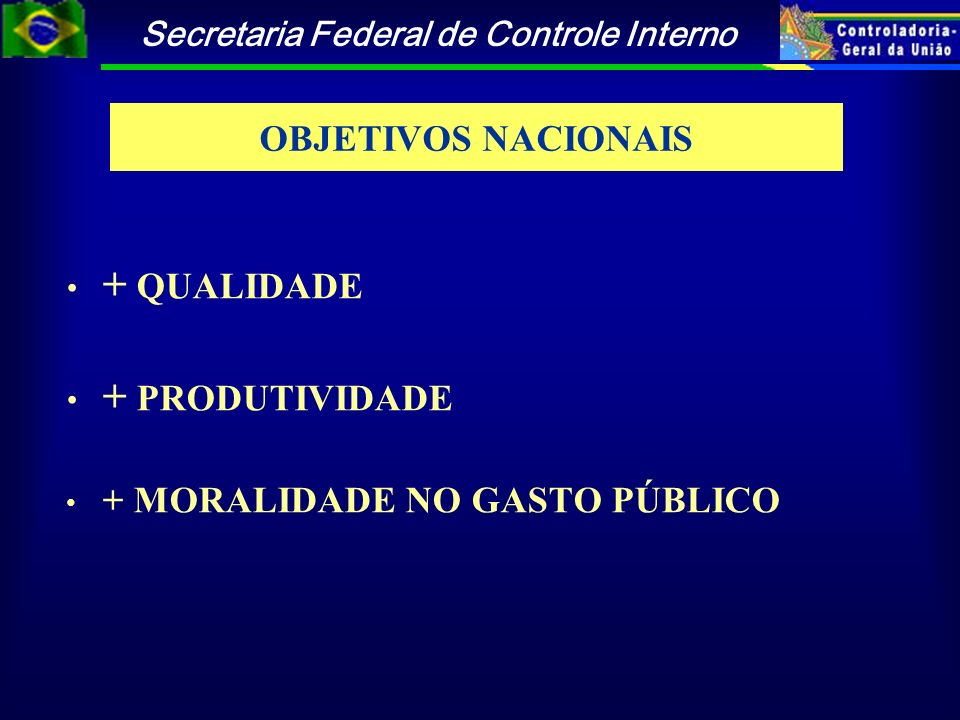 + QUALIDADE + PRODUTIVIDADE OBJETIVOS NACIONAIS