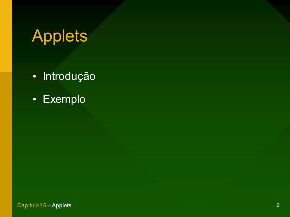 Applets Introdução Exemplo