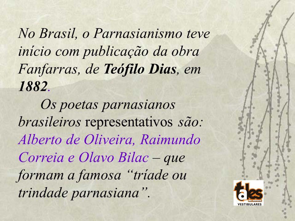 No Brasil, o Parnasianismo teve início com publicação da obra Fanfarras, de Teófilo Dias, em 1882.