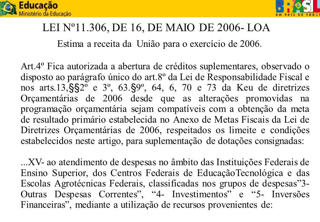 LEI Nº11.306, DE 16, DE MAIO DE 2006- LOA Estima a receita da União para o exercício de 2006.