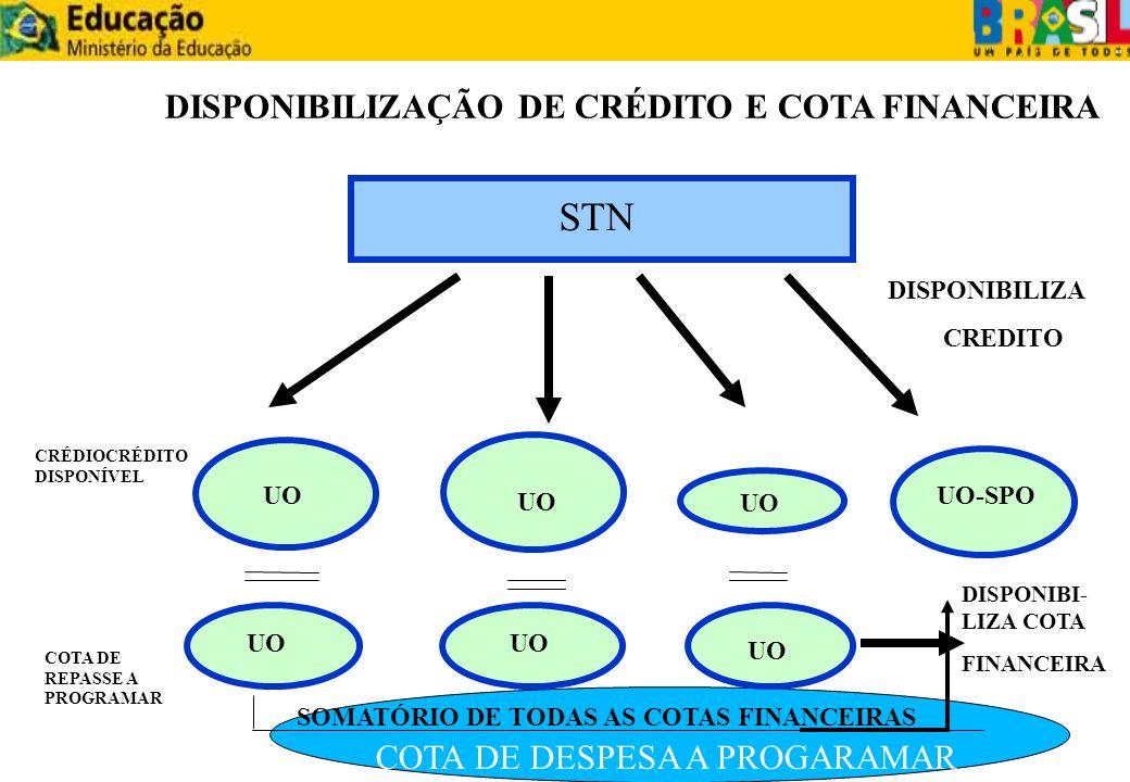 STN DISPONIBILIZAÇÃO DE CRÉDITO E COTA FINANCEIRA