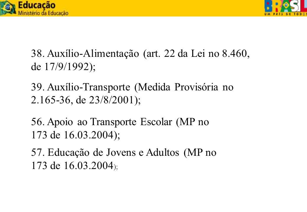 38. Auxílio-Alimentação (art. 22 da Lei no 8.460, de 17/9/1992);
