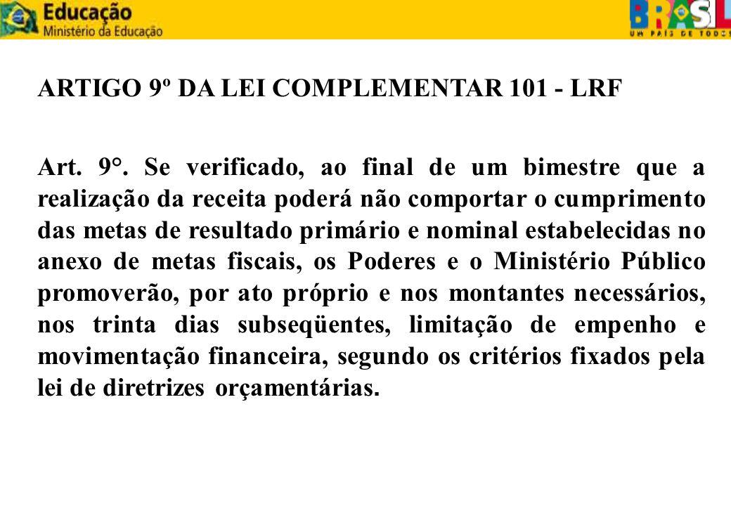 ARTIGO 9º DA LEI COMPLEMENTAR 101 - LRF