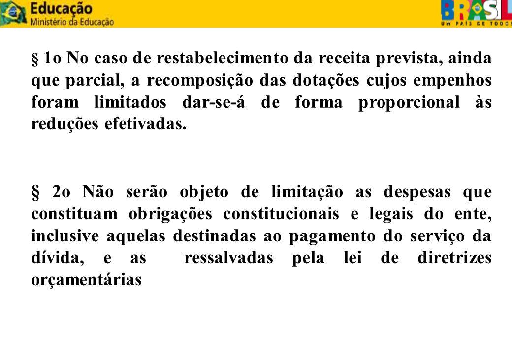 § 1o No caso de restabelecimento da receita prevista, ainda que parcial, a recomposição das dotações cujos empenhos foram limitados dar-se-á de forma proporcional às reduções efetivadas.