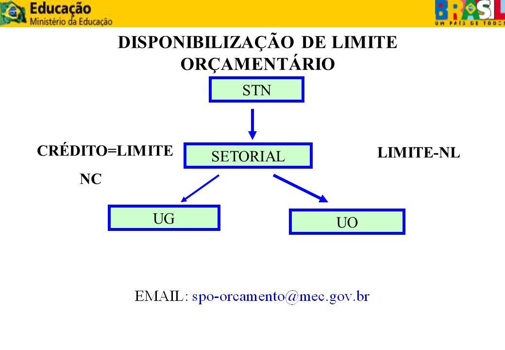 DISPONIBILIZAÇÃO DE LIMITE ORÇAMENTÁRIO