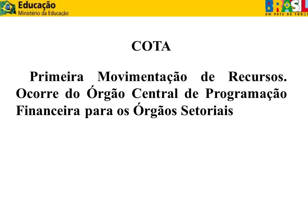 COTA Primeira Movimentação de Recursos.